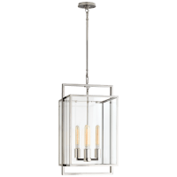 Halle Small Lantern in Polished Nickel with Clear Glass