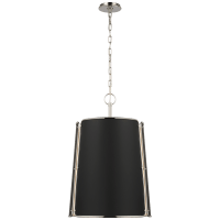 Hastings Large Pendant in Polished Nickel with Black Shade