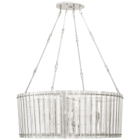 Cadence Large Chandelier in Polished Nickel with Antique Mirror