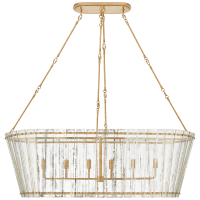 Cadence Grande Linear Chandelier in Hand-Rubbed Antique Brass with Antique Mirror