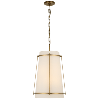 Callaway Medium Hanging Shade in Hand-Rubbed Antique Brass with Linen Shade and Frosted Acrylic Diffuser
