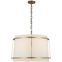Callaway Large Hanging Shade in Hand-Rubbed Antique Brass with Linen Shade and Frosted Acrylic Diffuser