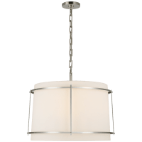 Callaway Large Hanging Shade in Polished Nickel with Linen Shade and Frosted Acrylic Diffuser