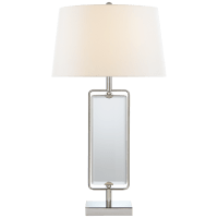 Henri Large Framed Table Lamp in Polished Nickel with Linen Shade