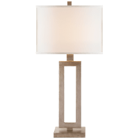 Mod Tall Table Lamp in Burnished Silver Leaf with Linen Shade