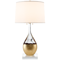 Juliette Table Lamp in Crystal and Gild with Silk Shade