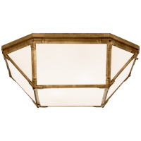 Morris Large Flush Mount in Gilded Iron with White Glass
