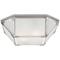 Morris Large Flush Mount in Polished Nickel with Frosted Glass