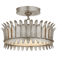 """Leslie 12"""" Semi-Flush in Burnished Silver Leaf with Frosted Glass"""