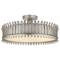 """Leslie 21"""" Semi-Flush in Burnished Silver Leaf with Frosted Glass"""