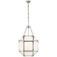 Morris Small Lantern in Polished Nickel with White Glass