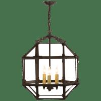 Morris Medium Lantern in Antique Zinc with Clear Glass