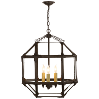 Morris Medium Lantern in Antique Zinc with Clear Glass