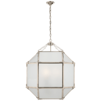 Morris Medium Lantern in Polished Nickel with Frosted Glass