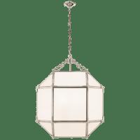 Morris Medium Lantern in Polished Nickel with White Glass