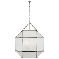 Morris Grande Lantern in Polished Nickel with Frosted Glass