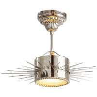 Soleil Small Semi-Flush in Polished Nickel with Frosted Glass