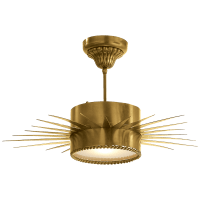 Soleil Medium Semi-Flush in Hand-Rubbed Antique Brass with Frosted Glass
