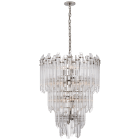 Adele Three-Tier Waterfall Chandelier in Polished Nickel with Clear Acrylic
