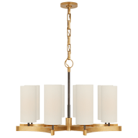 Aimee Medium Chandelier in Bronze and Hand-Rubbed Antique Brass with Linen Shades