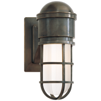 Marine Wall Light in Bronze with White Glass