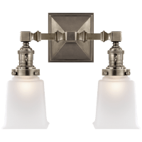 Boston Square Double Light in Antique Nickel with Frosted Glass
