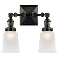 Boston Square Double Light in Bronze with Frosted Glass