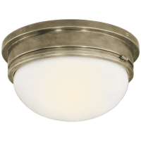 Marine Large Flush Mount in Antique Nickel with White Glass