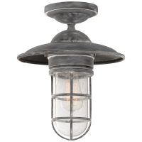 Marine Medium Flush Mount in Weathered Zinc with Seeded Glass