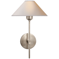 Hackney Single Sconce in Antique Nickel with Natural Paper Shade