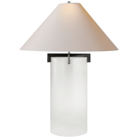 Brooks Table Lamp in Crystal and Aged Iron with Natural Paper Shade