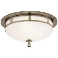 Openwork Small Flush Mount in Antique Nickel with Frosted Glass