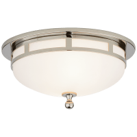 Openwork Small Flush Mount in Polished Nickel with Frosted Glass