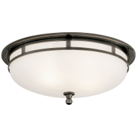 Openwork Large Flush Mount in Bronze with Frosted Glass