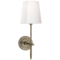 Bryant Sconce in Antique Nickel with White Glass