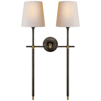 Bryant Large Double Tail Sconce in Bronze and Hand-Rubbed Antique Brass with Natural Paper Shades