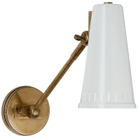 Antonio Adjustable One Arm Wall Lamp in Hand-Rubbed Antique Brass with Antique White Shade