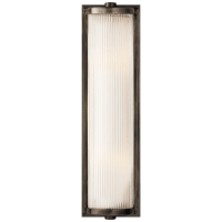 Dresser Long Glass Rod Light in Bronze with Frosted Glass Liner