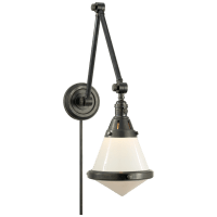 Gale Library Wall Light in Bronze with White Glass