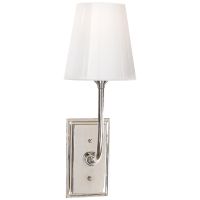 Hulton Sconce in Polished Nickel with Crystal Backplate and White Glass Shade