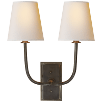 Hulton Double Sconce in Bronze with Crystal Backplate and Natural Paper Shades