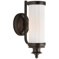 Milton Road Sconce in Bronze with White Glass