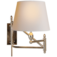 Paulo Small Bracket Light in Polished Nickel with Natural Paper Shade