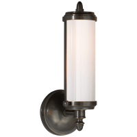 Merchant Single Bath Light in Bronze with White Glass