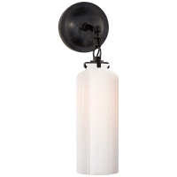 Katie Small Cylinder Sconce in Bronze with White Glass