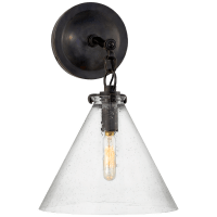 Katie Small Conical Sconce in Bronze with Seeded Glass