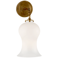 Katie Small Bell Jar Sconce in Hand-Rubbed Antique Brass with White Glass