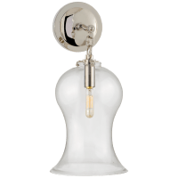 Katie Small Bell Jar Sconce in Polished Nickel with Clear Glass