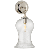 Katie Small Bell Jar Sconce in Polished Nickel with Seeded Glass