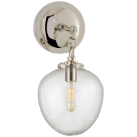 Katie Small Acorn Sconce in Polished Nickel with Seeded Glass